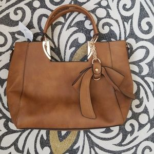 Tan Leather Bow Crossbody and Satchel